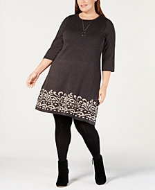 Jessica Howard Plus Size Printed-Hem Sweater Dress