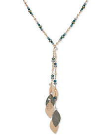 "lonna & lilly Two-Tone Crystal & Bead Leaf 28"" Lariat Necklace"