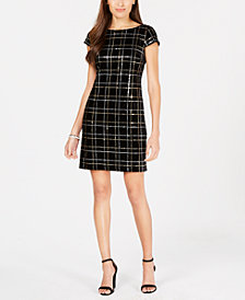 Vince Camuto Sequinned Velvet Shift Dress