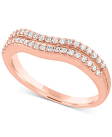 Diamond Double Row Wave Band (1/4 ct. t.w.) in 10k Rose Gold