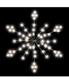 4' Diamond Snowflake Pole Decoration With 48 LED Lights.