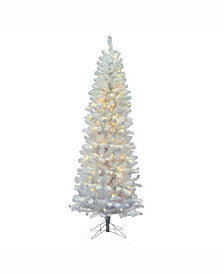 Vickerman 7.5' White Salem Pencil Pine Artificial Christmas Tree with 350 Warm White LED Lights