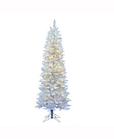 Vickerman 7.5' Sparkle White Spruce Pencil Artificial Christmas Tree with 350 Warm White LED Lights