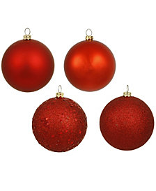 "4"" Red 4-Finish Ball Christmas Ornament, 12 per Box"