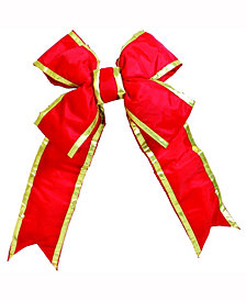 "18"" Red-Gold Nylon Outdoor Christmas Bow"