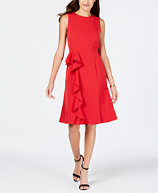 Vince Camuto Ruffle-Trim A-Line Dress