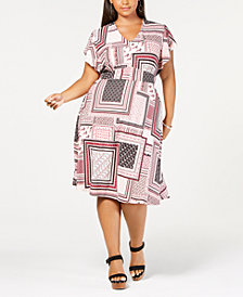 Monteau Trendy Plus Size Flutter-Sleeve Midi Dress