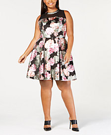 Love Squared Trendy Plus Size Mesh-Yoke A-Line Dress