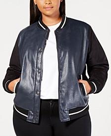 Plus Size Faux-Leather Varsity Bomber Jacket