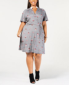 Monteau Trendy Plus Size Collared Faux-Wrap Dress