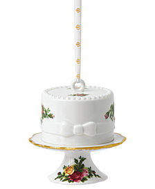 Royal Albert Old Country Roses Cake with Cake Stand Ornament