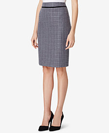 Tahari ASL Bouclé Velvet-Trim Straight Skirt, Regular & Petite