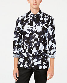 HUGO Men's Slim-Fit Striped Camo Shirt