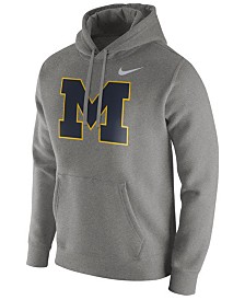 Nike Men's Michigan Wolverines Cotton Club Fleece Hooded Sweatshirt
