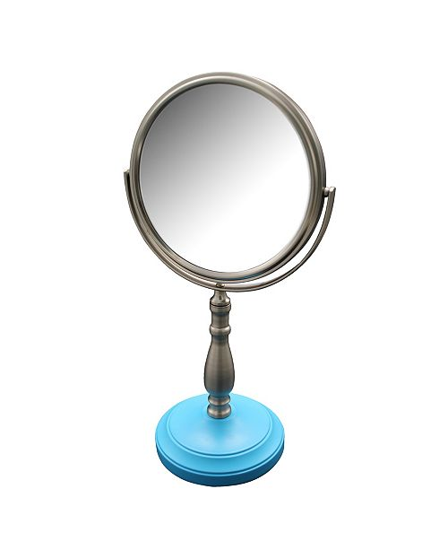 Elegant Home Fashions Briggs Freestanding Bath Magnifying Makeup Mirror with Deep Sea Blue base and Nana Pedestal