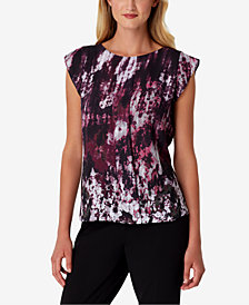 Tahari ASL Printed Cap-Sleeve Top