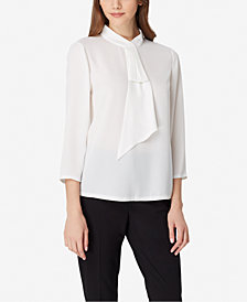 Tahari ASL Ruffled Mock-Neck Top