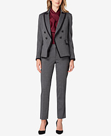 Tahari ASL Double-Breasted Blazer, Top & Straight-Leg Pants