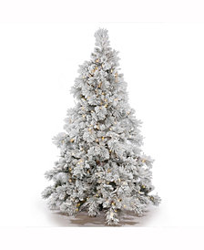 7.5' Flocked Alberta Artificial Christmas Tree with 650 Warm White LED Lights