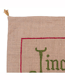 Natural Burlap With Bead Embroidery And Jingle Bell Trim