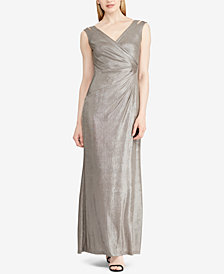 Lauren Ralph Lauren Ruched Sleeveless Gown