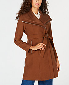 Vince Camuto Faux-Leather-Trim Asymmetrical Coat