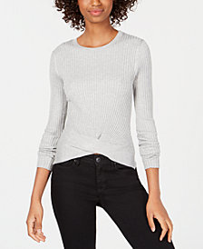 Hooked Up by IOT Juniors' Ribbed Twist-Hem Sweater