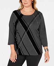 Karen Scott Plus Size Embellished Argyle Top, Created for Macy's
