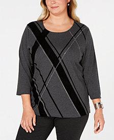 Karen Scott Plus Size Embellished Argyle Top, Created for Macy's