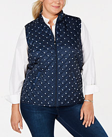 Karen Scott Plus Size Polka-Dot Quilted Vest, Created for Macy's