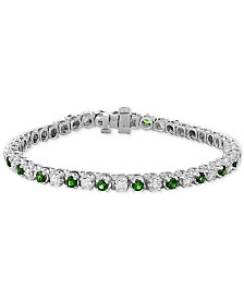 EFFY® Certified Emerald (3 ct. t.w.) & Diamond (2-1/6 ct. t.w.) Bracelet in 14k White Gold