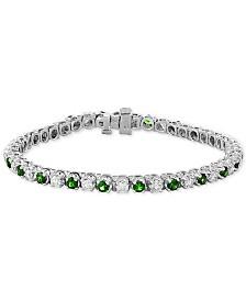 EFFY® Emerald (3 ct. t.w.) & Diamond (2-1/6 ct. t.w.) Bracelet in 14k White Gold