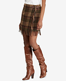 Polo Ralph Lauren Fringe-Trim Plaid Skirt