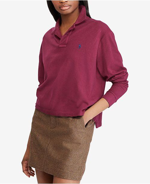 Polo Ralph Lauren. Cropped Mesh Long-Sleeve Cotton Polo. 1 reviews. main  image  main image ... 48609f40a4fd