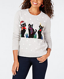 Karen Scott Petite Embellished Holiday-Graphic Sweater