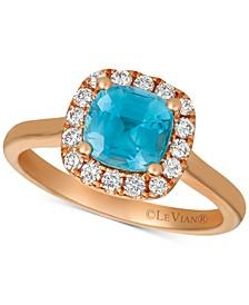 Blue Zircon (1-5/8 ct .t.w.) & Diamond (1/3 ct. t.w.) Ring in 14k Rose Gold