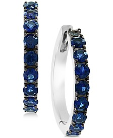EFFY® Sapphire Hoop Earrings (1 ct. t.w.) in Sterling Silver (Also Available In Certified Ruby)