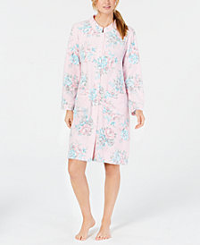 Miss Elaine Luxe Printed Brushed-Fleece Short Snap Robe