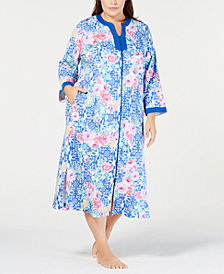 Miss Elaine Plus Size Printed Zip-Front Robe