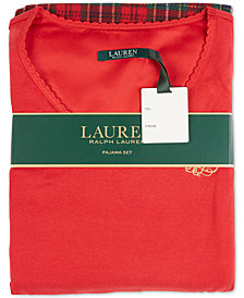 Lauren Ralph Lauren Knit Top & Fleece Pants Pajama Set