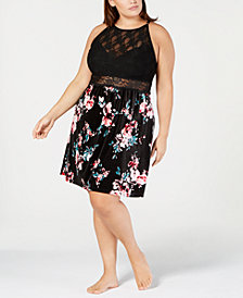 I.N.C. Plus Size Printed Velvet & Lace Chemise, Created for Macy's