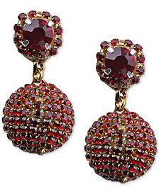 Deepa Silver-Tone Crystal Ball Drop Earrings