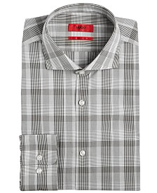 HUGO Men's Slim-Fit Olive Plaid Dress Shirt