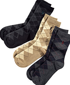Polo Ralph Lauren 3-Pk. Argyle Socks, Little Boys & Big Boys
