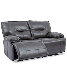 "CLOSEOUT! Mantella 67"" Power Reclining Leather Loveseat"