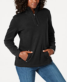 Karen Scott Petite Half-Zip Pullover Top, Created for Macy's