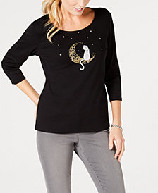 Karen Scott Cotton Halloween Moon Cat Embellished Graphic T-Shirt, Created for Macy's