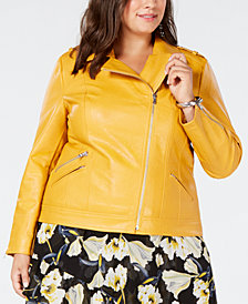 I.N.C. Plus Size Faux-Leather Moto Jacket, Created for Macy's