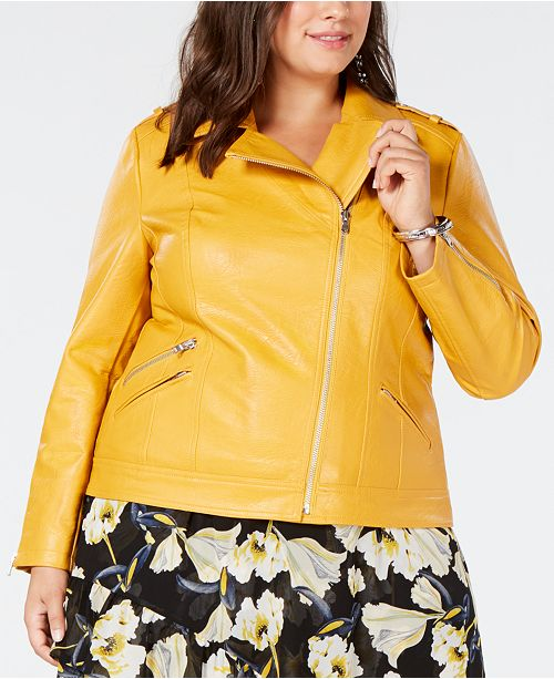 7aeea363c46 INC International Concepts I.N.C. Plus Size Faux-Leather Moto Jacket ...