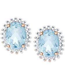 Blue Topaz Oval Stud Earrings (3-1/5 ct. t.w.) in Sterling Silver & 18k Rose Gold-Plate